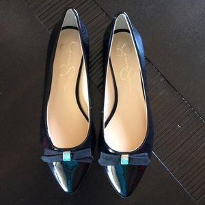 NEW Jessica Simpson Black Flats w/bows!